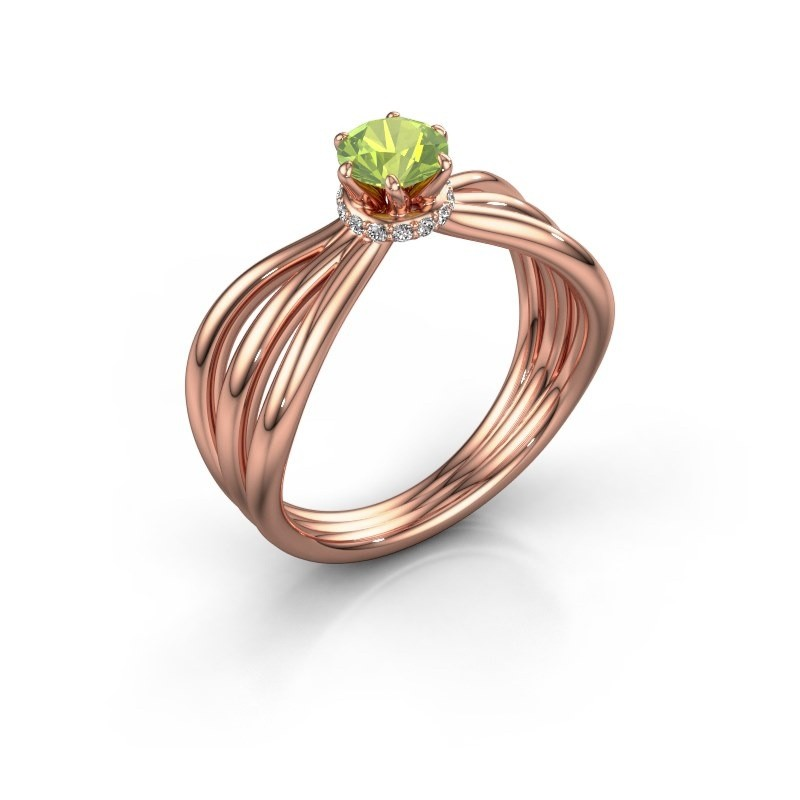 Engagement ring Kimi 375 rose gold peridot 5 mm