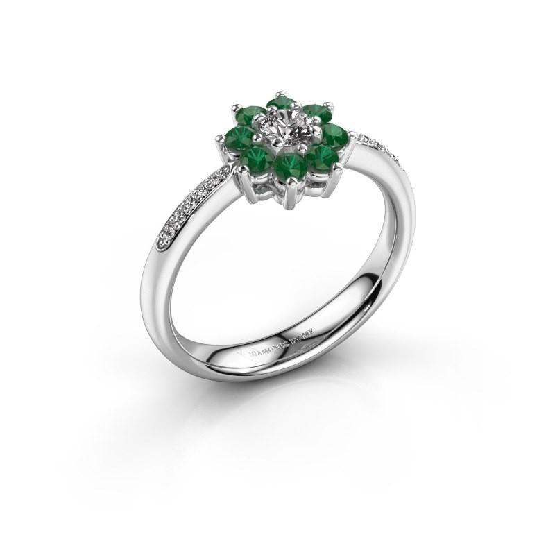 Verlovingsring Camille 2 585 witgoud smaragd 3.4 mm