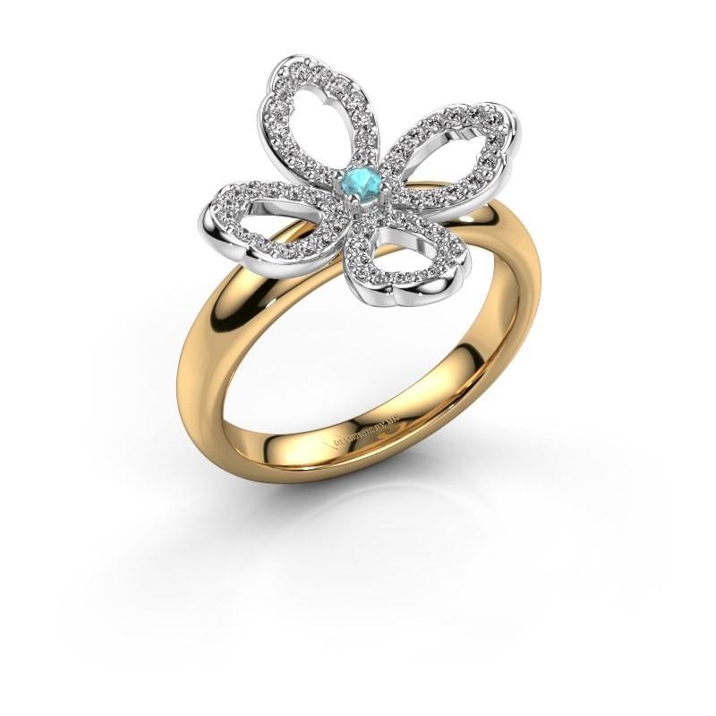 Ring Chelsea 585 goud blauw topaas 2 mm