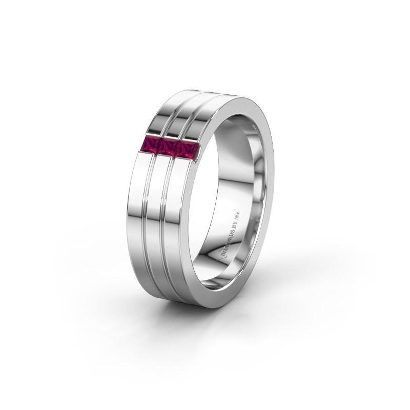 Wedding ring WH0428L16BP 585 white gold rhodolite ±0.24x0.08 in