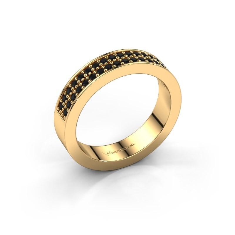 Stackable ring Catharina 4 375 gold black diamond 0.432 crt
