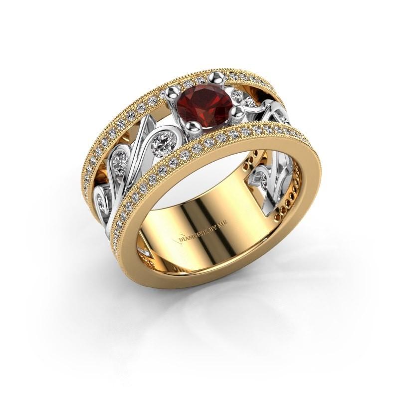 Ring Sanne 585 goud granaat 5 mm