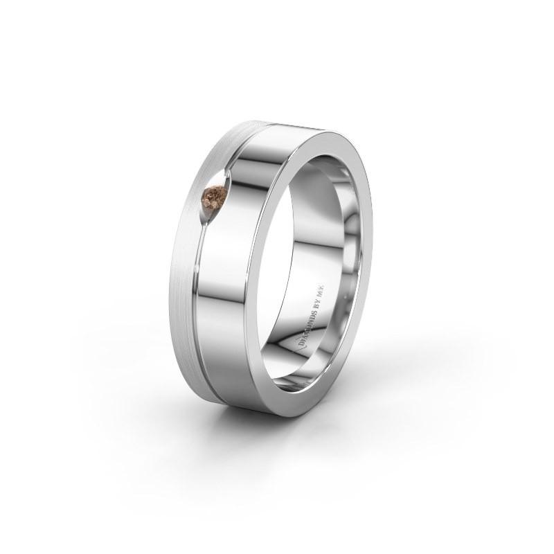 Wedding ring WH0329L16B 950 platinum brown diamond ±0.24x0.08 in