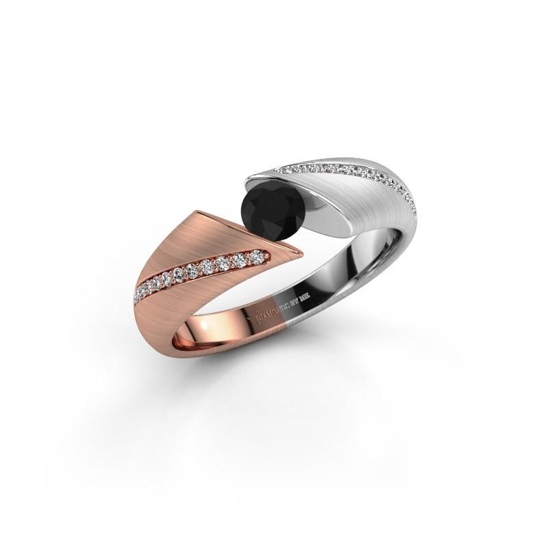 Verlovingsring Hojalien 2 585 rosé goud zwarte diamant 0.48 crt