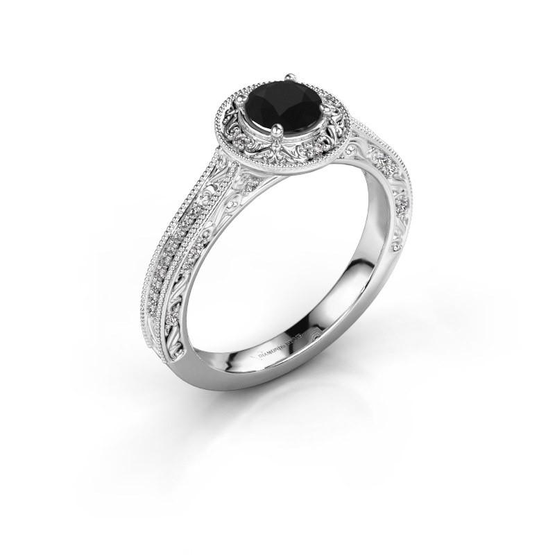 Verlovings ring Alice RND 950 platina zwarte diamant 0.70 crt