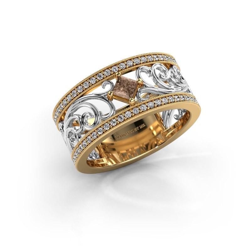 Bague Danae 585 or jaune diamant brun 0.58 crt