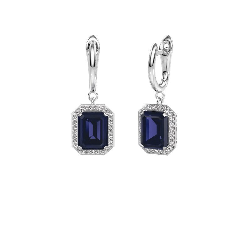 Drop earrings Dodie 1 950 platinum sapphire 9x7 mm