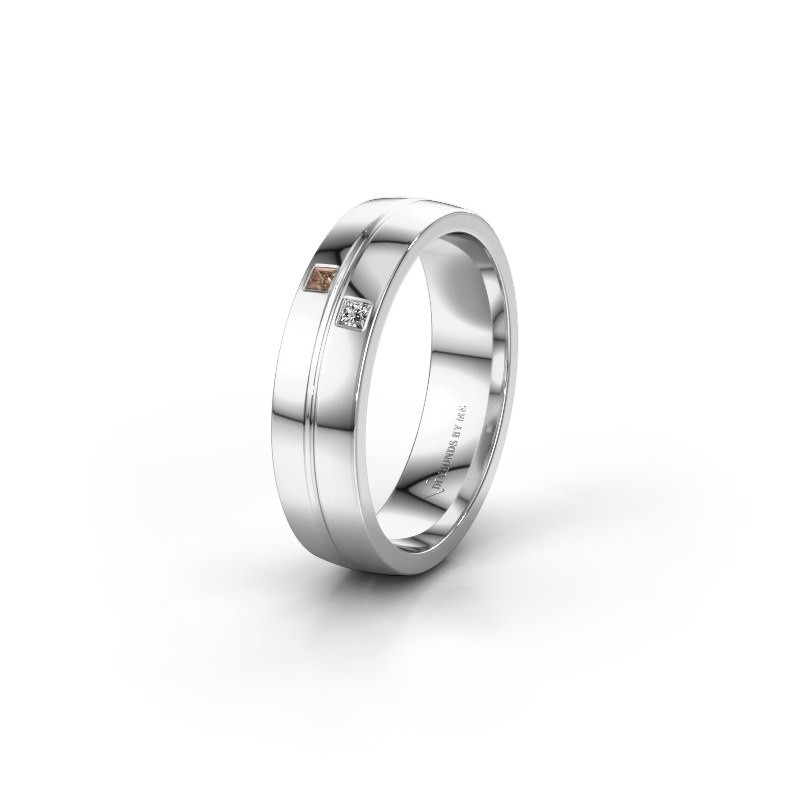 Wedding ring WH0231L25BP 950 platinum brown diamond ±0.20x0.08 in