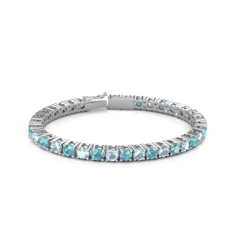 Tennisarmband Ming 750 witgoud blauw topaas 5 mm