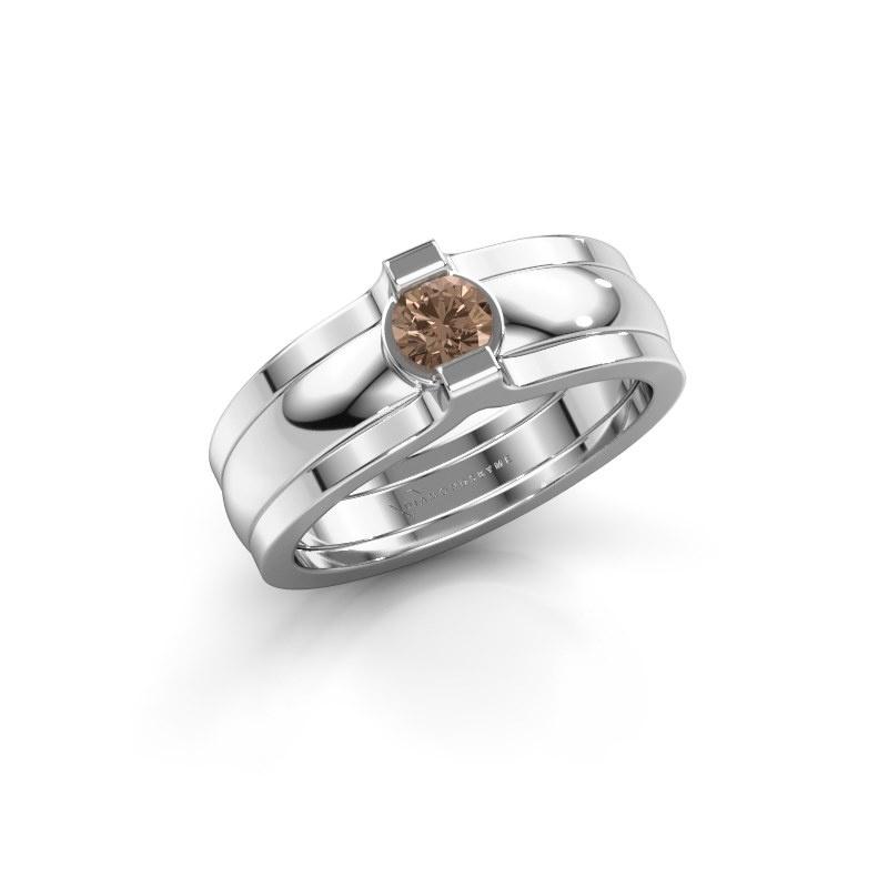 Ring Jade 925 silver brown diamond 0.25 crt