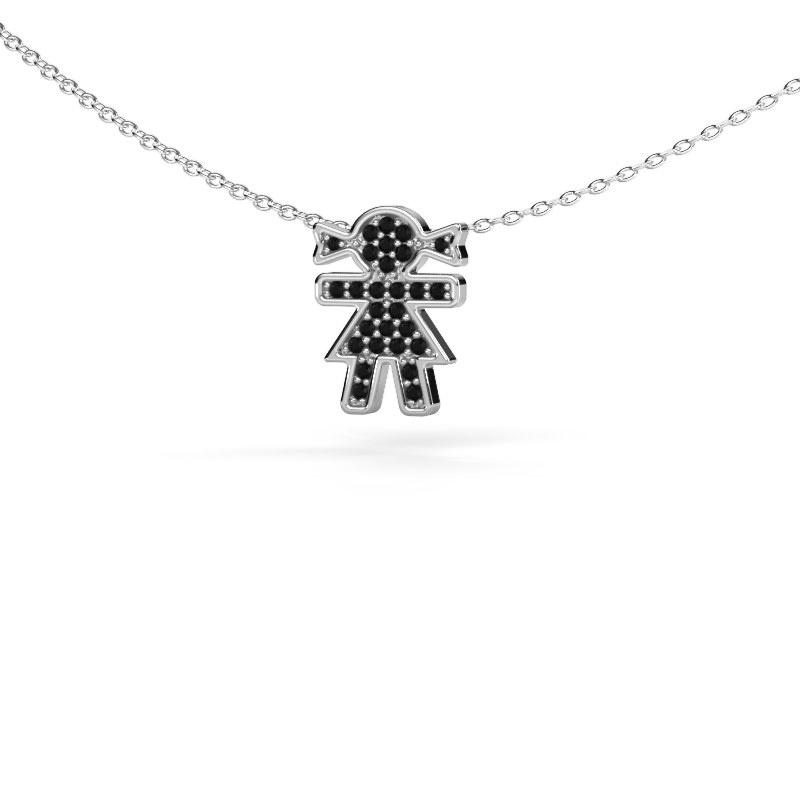 Collier Girl 585 witgoud zwarte diamant 0.162 crt