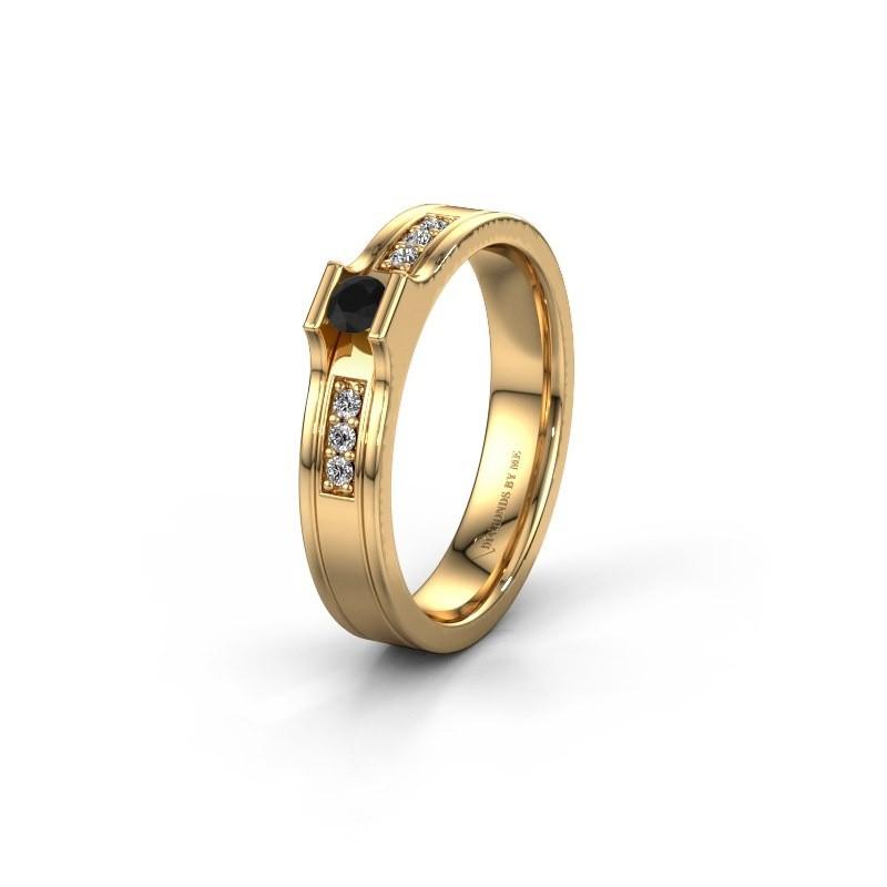Trouwring WH2110L14A 585 goud zwarte diamant ±4x1.7 mm
