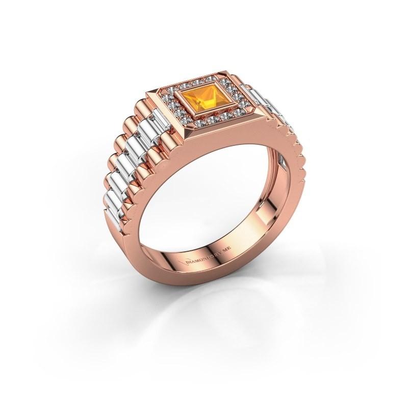 Heren ring Zilan 585 rosé goud citrien 4 mm