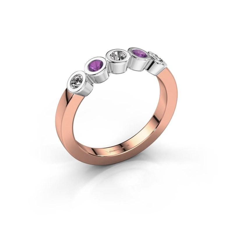 Bague Nova 585 or rose diamant synthétique 0.30 crt
