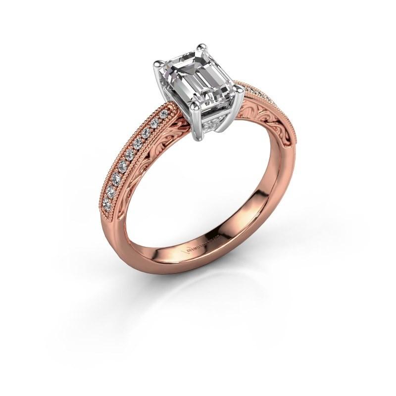 Bague de fiançailles Shonta EME 585 or rose diamant synthétique 1.28 crt