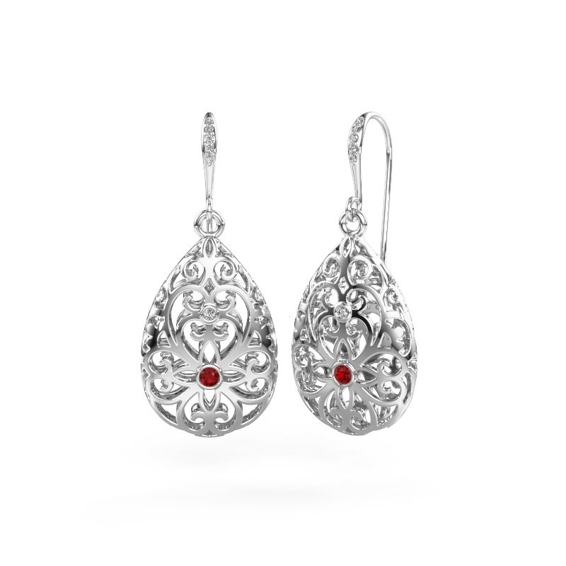 Drop earrings Idalia 2 585 white gold ruby 2 mm