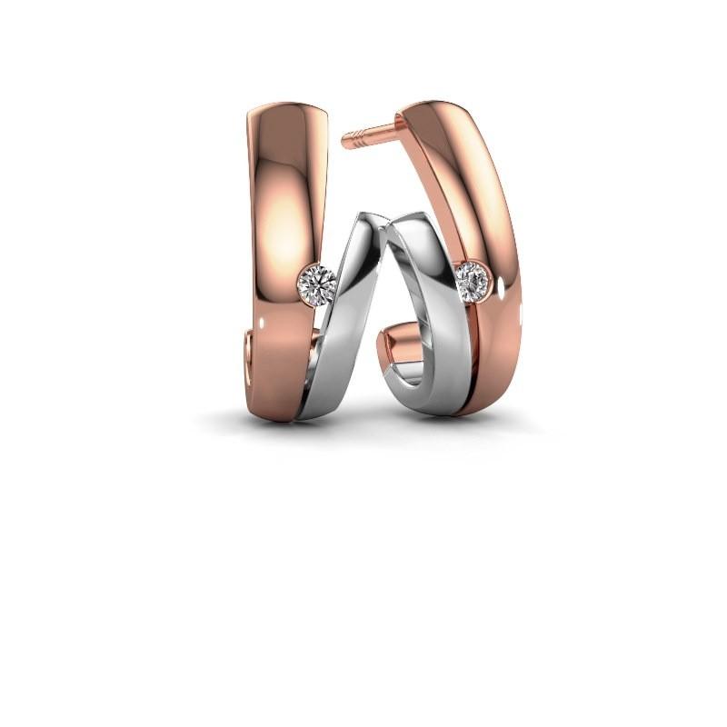 Oorbellen Shela 585 rosé goud diamant 0.06 crt