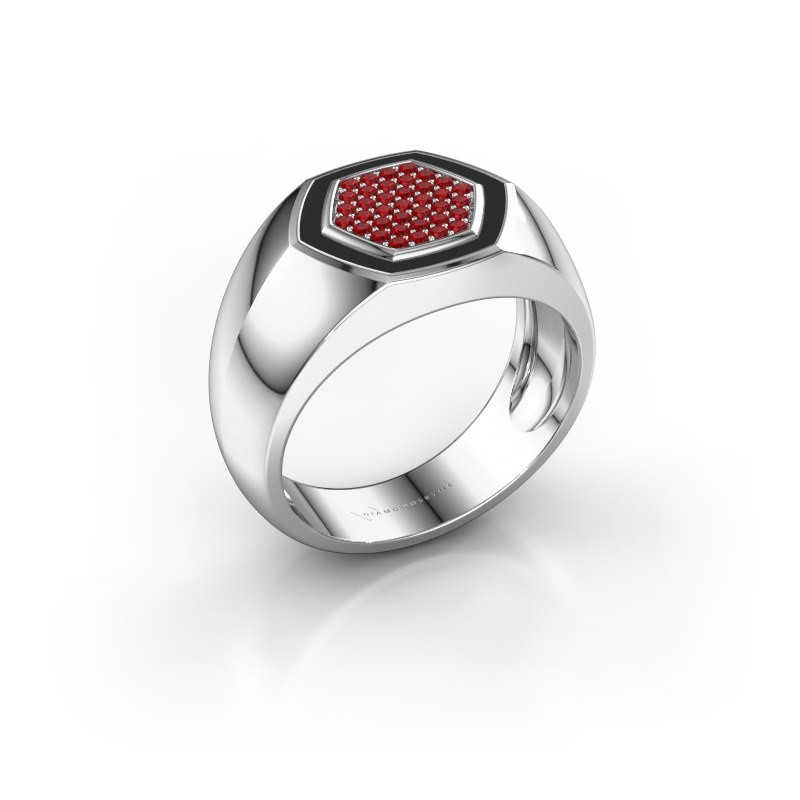 Heren ring Kris 585 witgoud robijn 1.1 mm