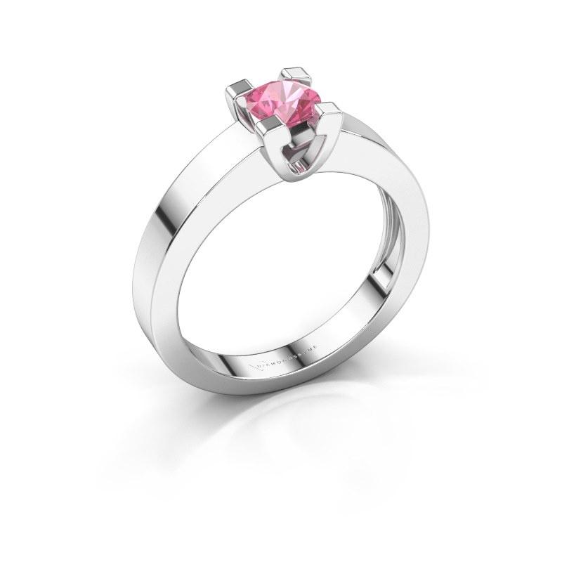 Promise ring Anne 1 585 witgoud roze saffier 4.7 mm