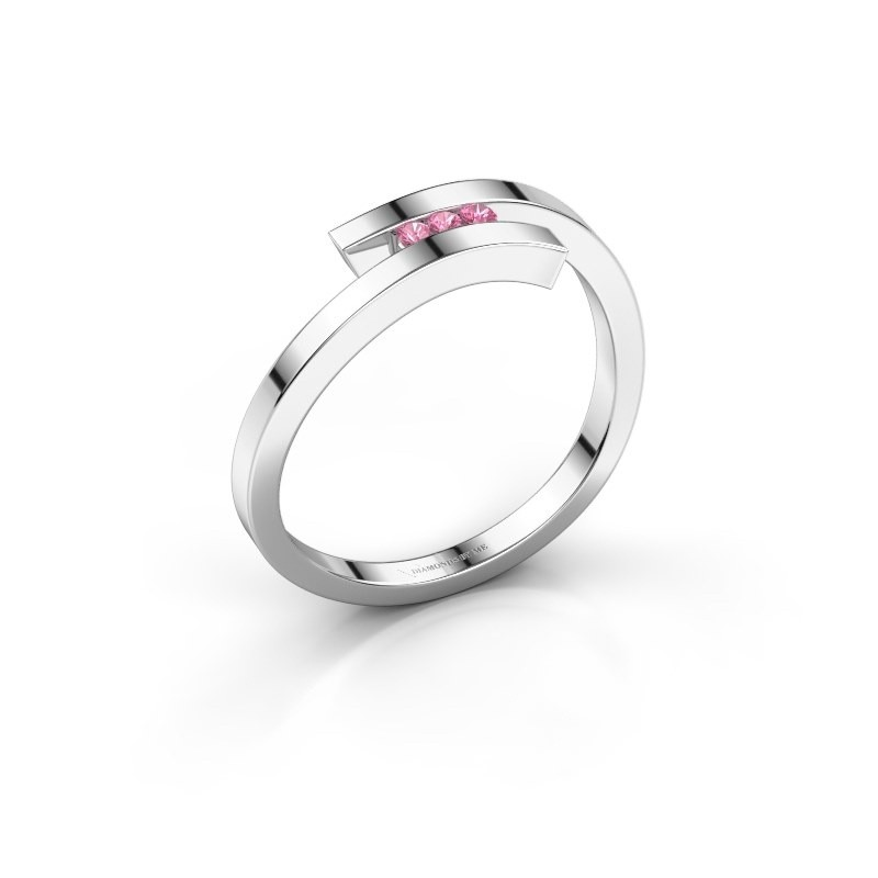 Ring Juliette 585 white gold pink sapphire 1.6 mm