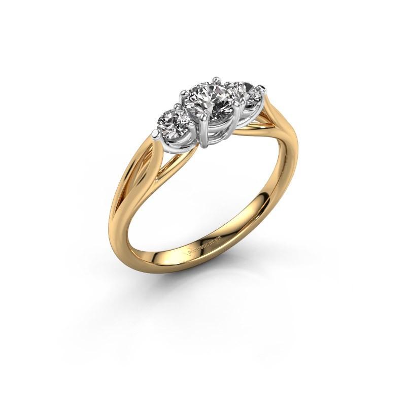 Bague de fiançailles Amie RND 585 or jaune diamant 0.60 crt