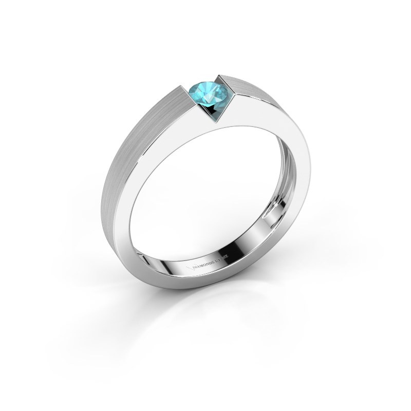 Verlovingsring Lizzy 1 925 zilver blauw topaas 3.7 mm