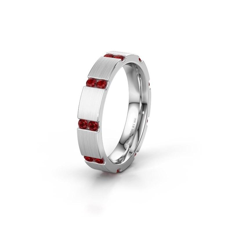 Bague de mariage WH2132L14BM 585 or blanc rubis ±4x2.2 mm