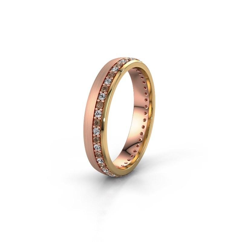 Trouwring WH0303L24AM 585 rosé goud bruine diamant ±4x1.7 mm
