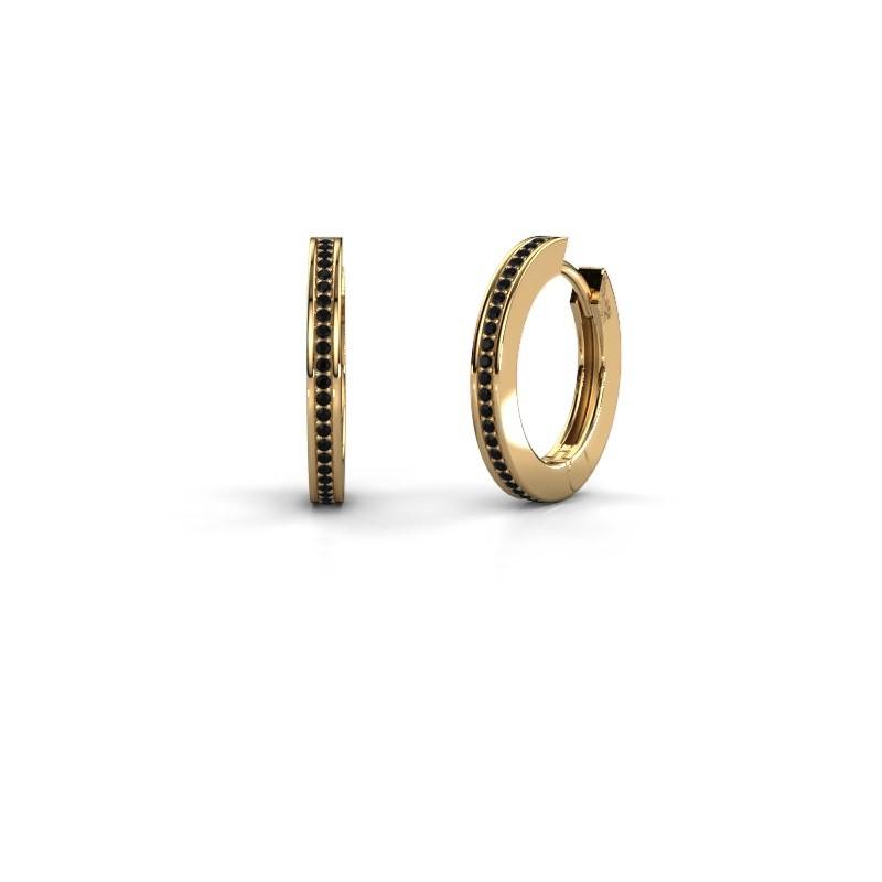 Creolen Renee 4 12 mm 585 goud zwarte diamant 0.456 crt
