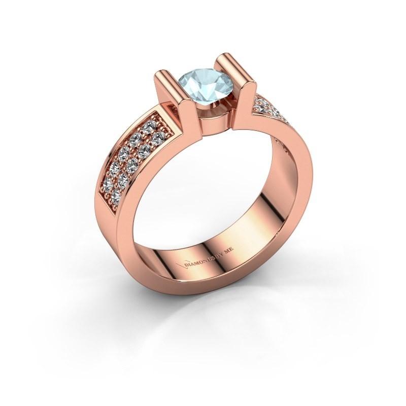 Verlovingsring Sofie 3 585 rosé goud aquamarijn 5 mm