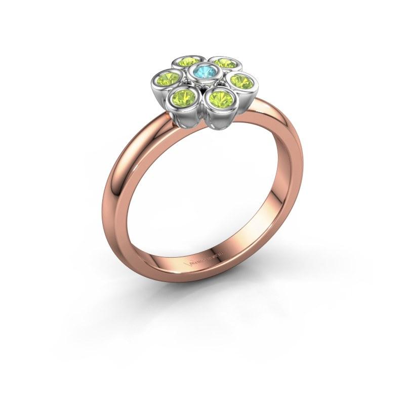 Ring Aaliyah 585 rose gold blue topaz 2 mm