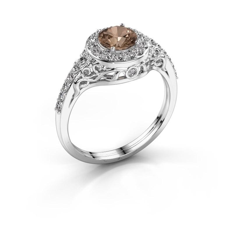 Ring Yurani 950 platina bruine diamant 1.22 crt
