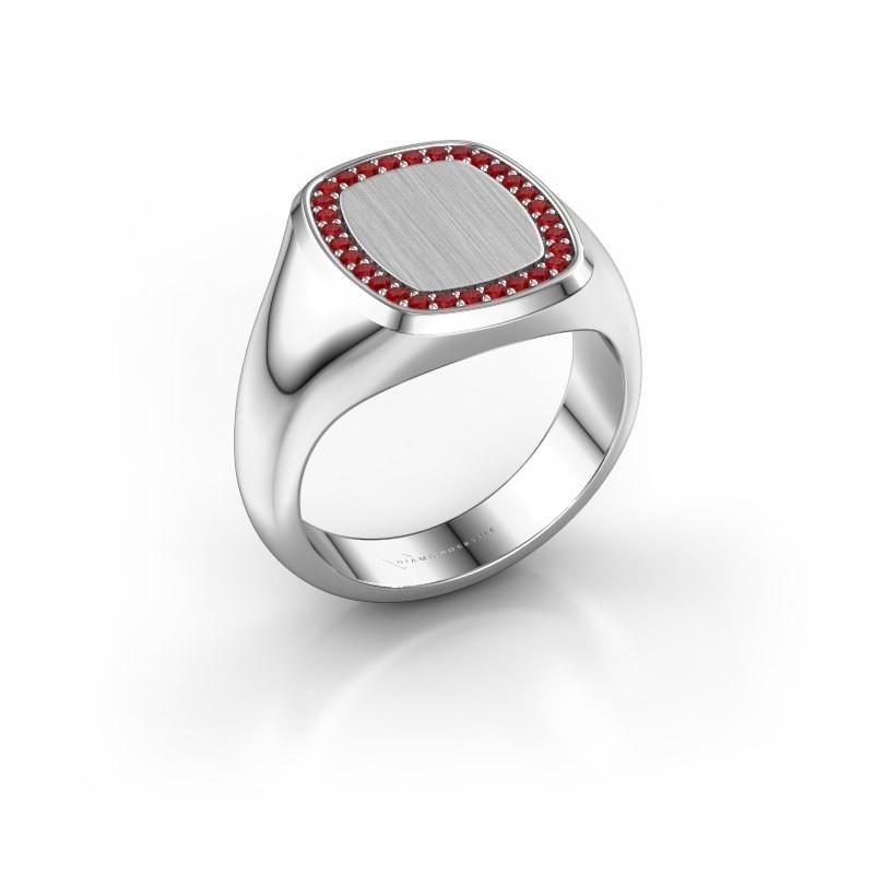 Heren ring Floris Cushion 3 585 witgoud robijn 1.2 mm