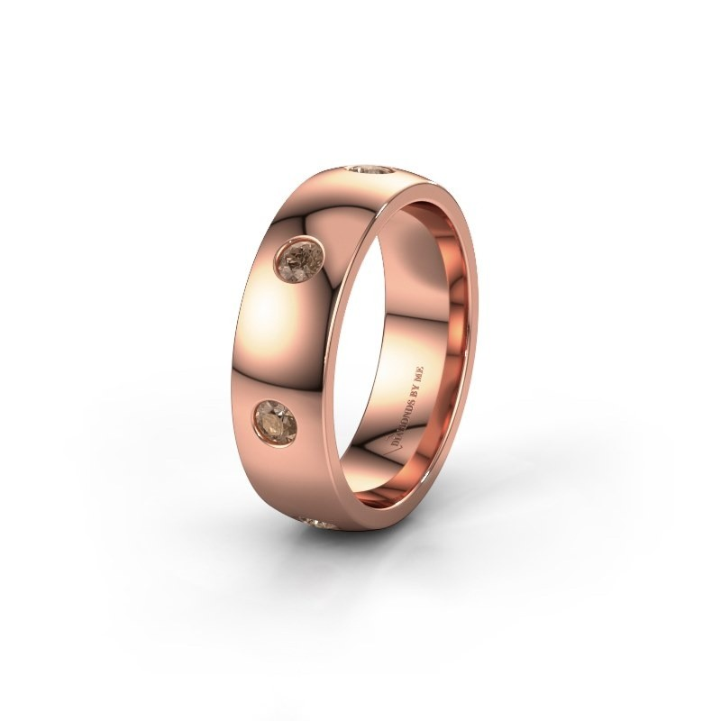 Trouwring WH0105L26BP 375 rosé goud bruine diamant ±6x2 mm