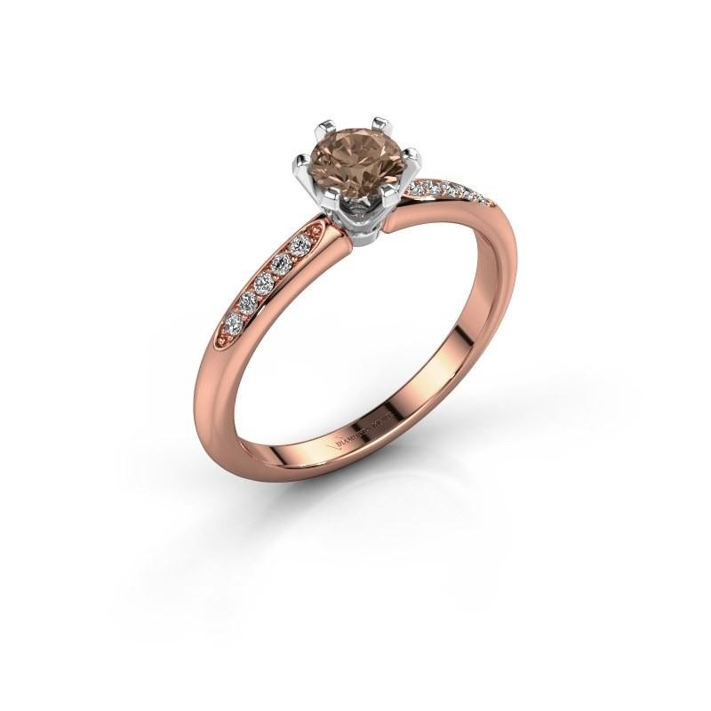 Verlovingsring Tiffy 2 585 rosé goud bruine diamant 0.40 crt