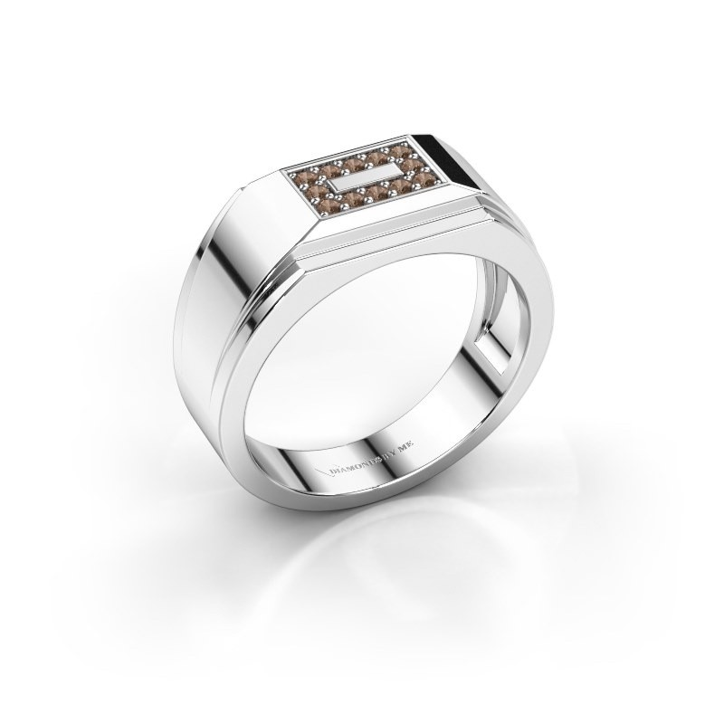 Men's ring Roan 950 platinum brown diamond 0.18 crt