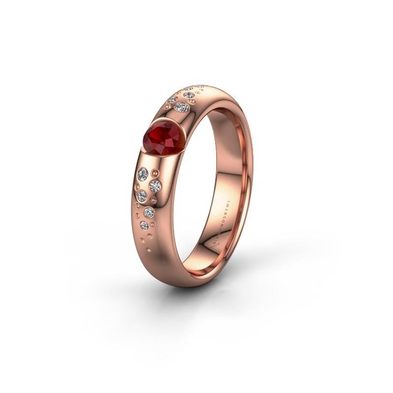 Trouwring WH2104L34A 375 rosé goud robijn ±4x1.7 mm