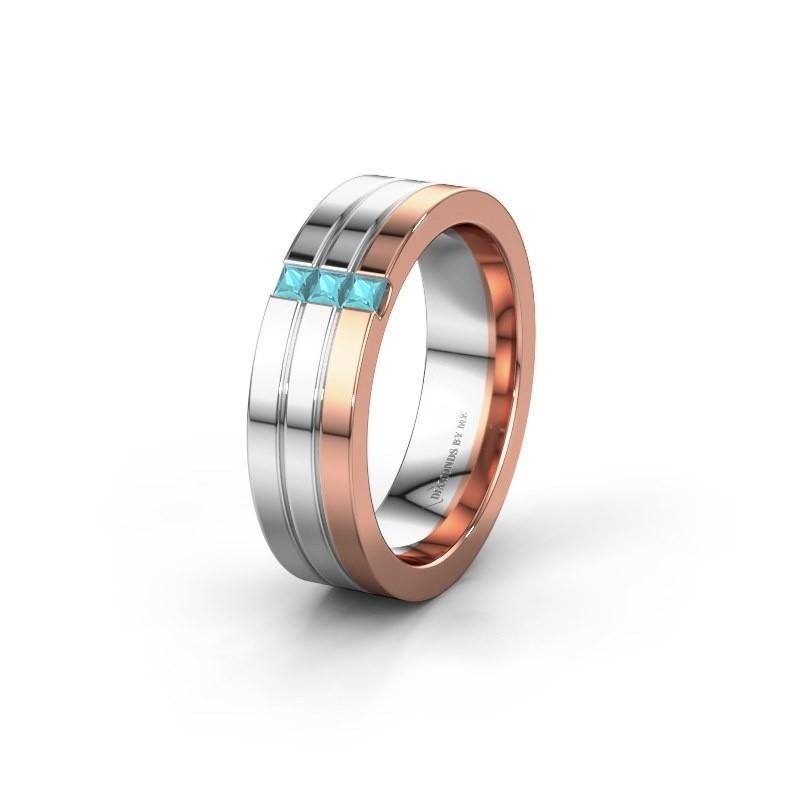 Wedding ring WH0428L16BP 585 rose gold blue topaz ±6x2 mm