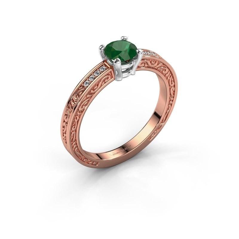 Verlovingsring Claudette 2 585 rosé goud smaragd 5 mm
