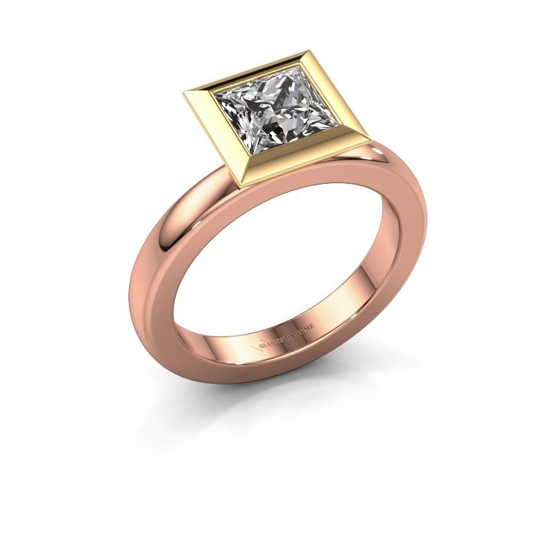 Stapelring Trudy Square 585 rosé goud zirkonia 6 mm