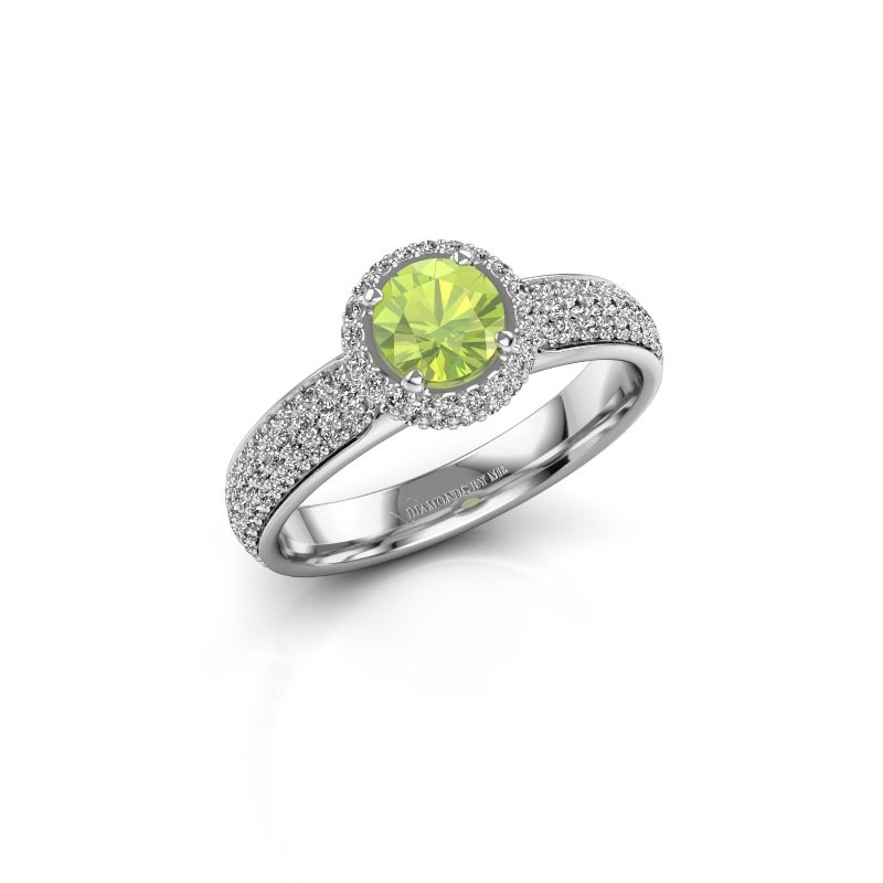 Engagement ring Mildred 950 platinum peridot 5 mm