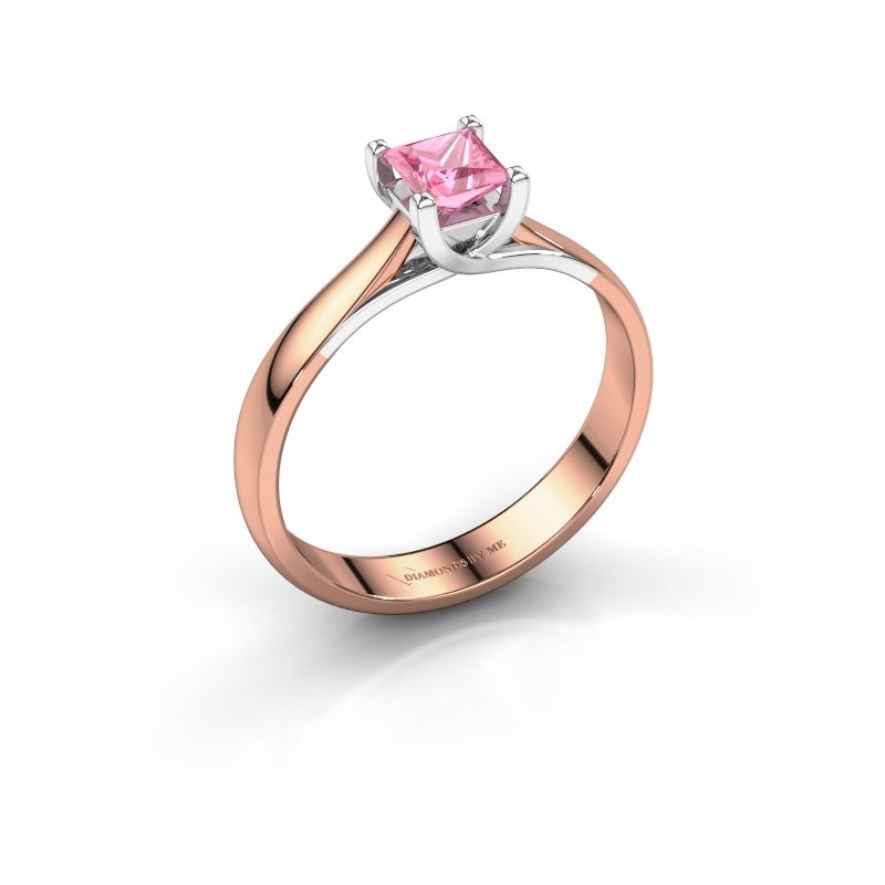 Engagement ring Mia Square 585 rose gold pink sapphire 4 mm