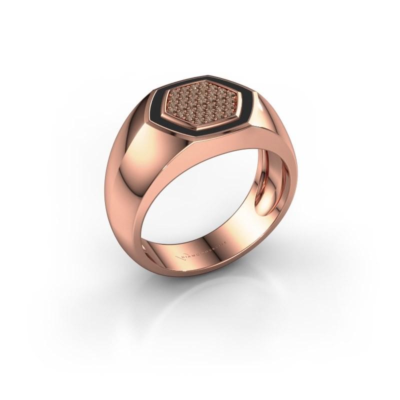 Heren ring Kris 375 rosé goud bruine diamant 0.248 crt