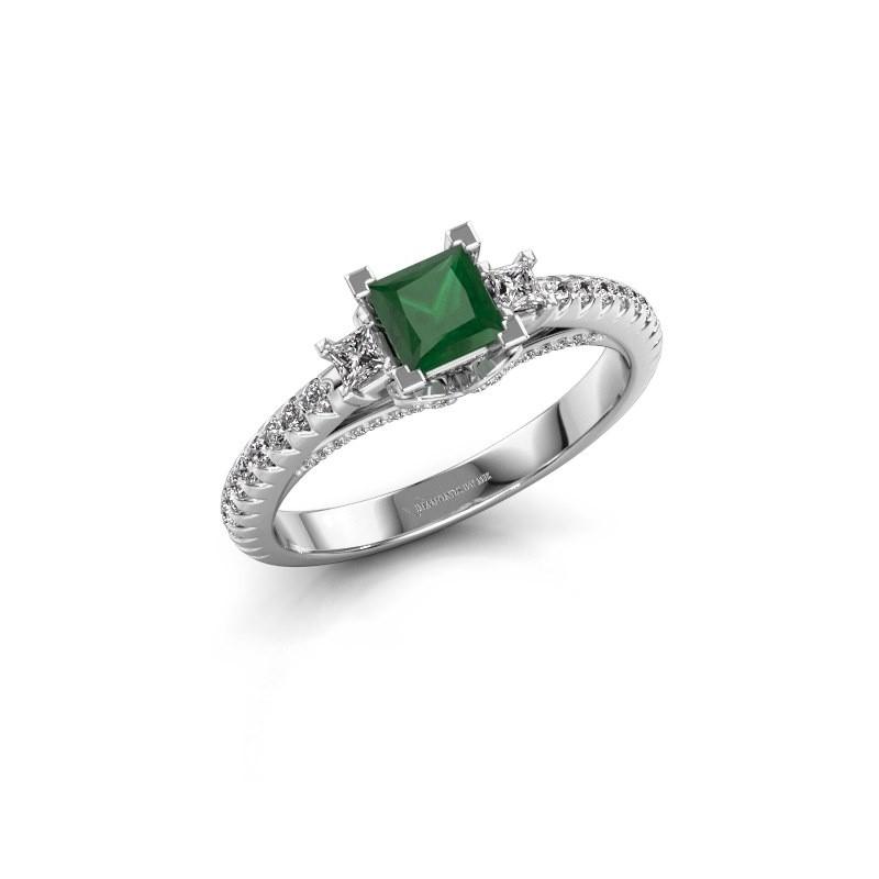 Verlovingsring Valentina 585 witgoud smaragd 4.25 mm