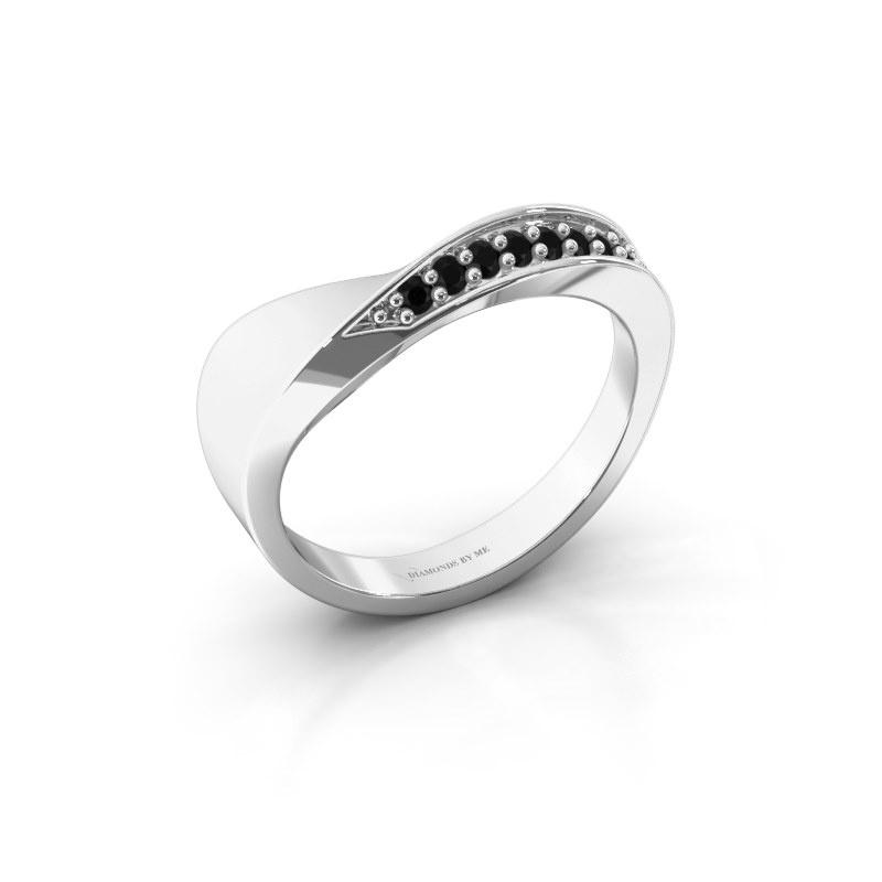 Ring Lynn 585 witgoud zwarte diamant 0.259 crt