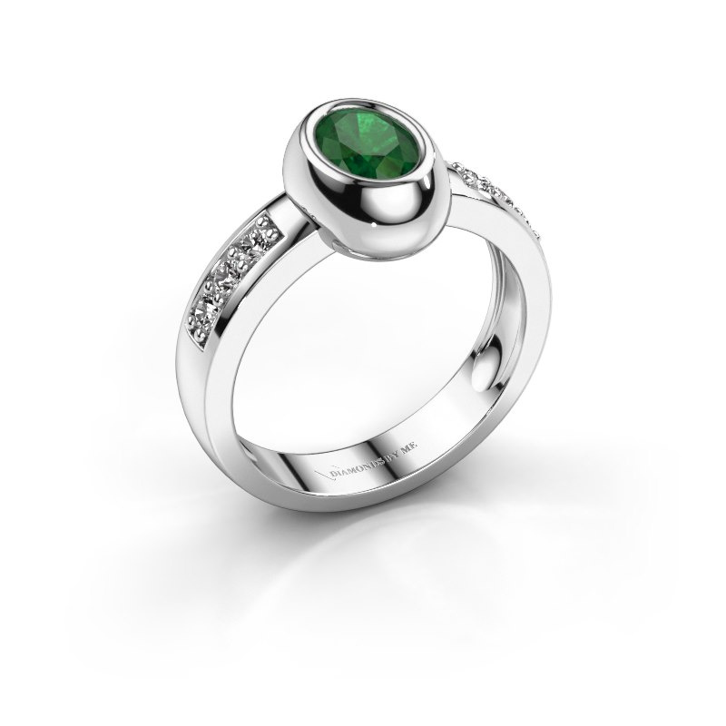 Ring Charlotte Oval 585 white gold emerald 7x5 mm