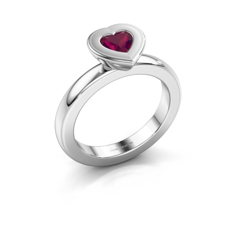 Stapelring Eloise Heart 585 witgoud rhodoliet 5 mm