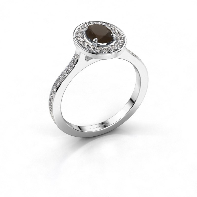 Ring Madelon 2 585 witgoud rookkwarts 7x5 mm