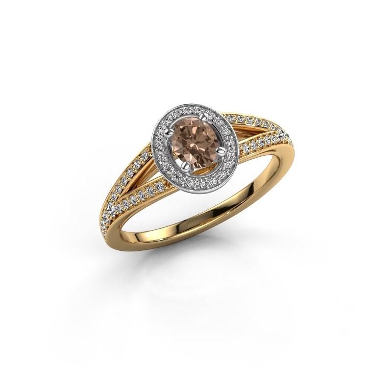 Verlovings ring Angelita OVL 585 goud bruine diamant 0.703 crt