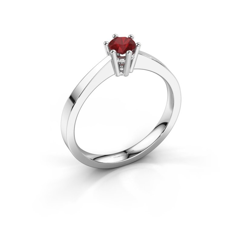 Engagement ring Noortje 585 white gold ruby 4 mm